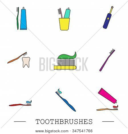 Toothbrush Icon Set. Teeth Cleaning. Electric Or Conventional Toothbrushes. Icon With Editable Strok
