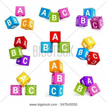 Childish Alphabetical Cubes, Educational Toys Vector Realistic Illustrations Set