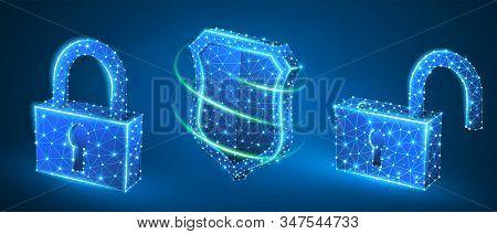 Lock, Shield, Unlock Symbol Abstract Set. Low Poly, Wireframe, Digital 3d Vector Illustration. Secur