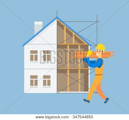 Workman Carrying Heavy Bulky Items Vector, Builder With Bricks And Blocks Wearing Helmet And Walking