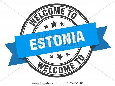 Estonia Stamp. Welcome To Estonia Blue Sign