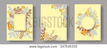 Watercolor Herb Twigs, Tree Branches, Flowers Floral Invitation Cards Collection. Herbal Frames Vint
