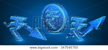 Rupee Golden Coin, Growth And Downtrend Arrow Symbols Set. Low Poly, Wireframe, Digital 3d Vector Il