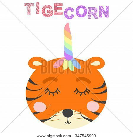 Cute Funny Tiger With A Unicorn Horn. Scandinavian Style Flat Design. Concept For Children Print.