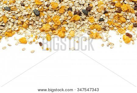 Healthy food concept -Muesli classic on white background