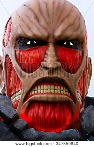 Osaka, Japan - Jan 20 2020 : Close Up Of Colossus Titan At Attack On Titan/race For Survival Xr Ride