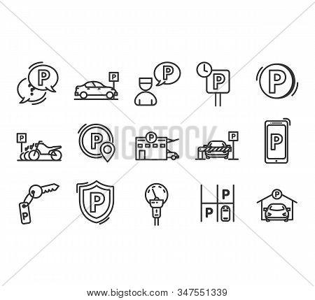 Parking Line Icons. Car Garage And Parking Line Vector Symbols.valet Servant And Paid Transport Park