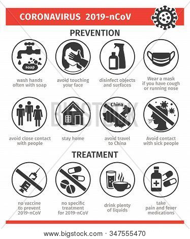 Prevention And Treatment Of The Coronovirus 2019-ncov. Vector Illustration, Icons. The Danger Of The