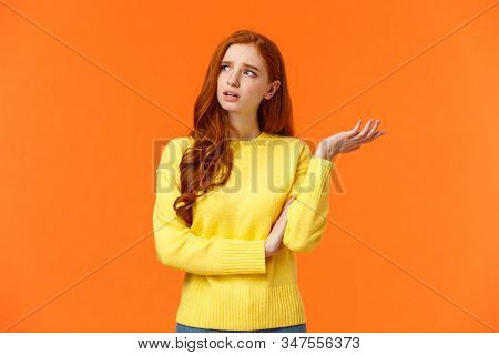 Troubled And Unsure, Indecisive Cute Redhead Girl Trying Solve Problem, Searching Resolve, Looking P