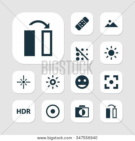 Image Icons Set With Flare, Hdr, Healing And Other Turn Elements. Isolated Vector Illustration Image