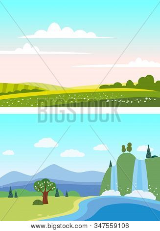 Set Countryside Waterfall Rural Mountaine Landscapes Green Hill. Panorama Nature Fields Blue Sky Clo