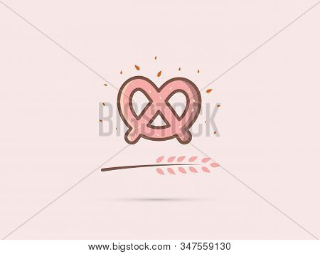 Pretzel Icon With A Spike On A Uniform Background