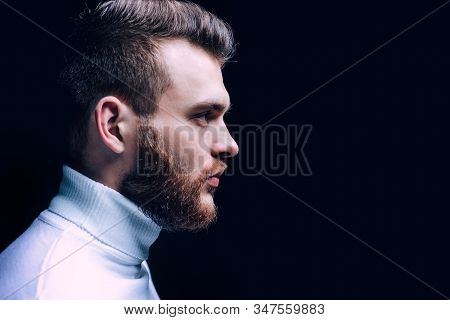 Man Bearded Macho Close Up Face. Barbershop Concept. Beard Grooming. Hipster Style Beard. Handsome B