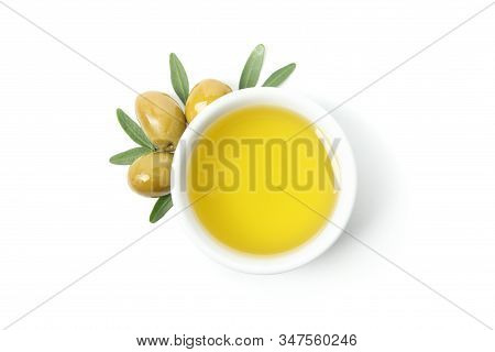 Bowl With Olive Oil And Olives Isolated On White Background, Top View