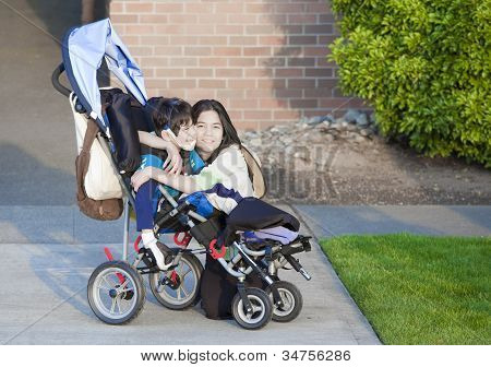 Disabled Boy In Wheelchair And His Sister