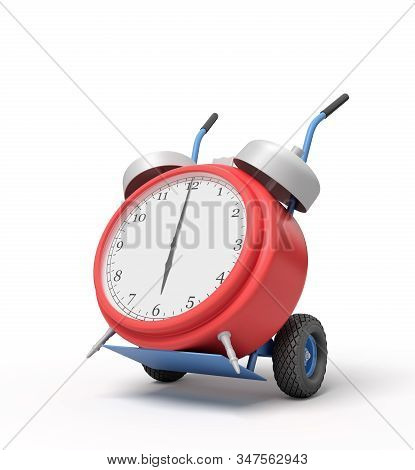 3d Rendering Of Alarm Clock On A Hand Truck