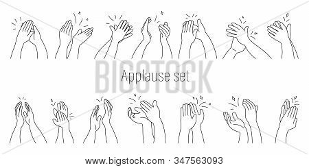A Set Of Applause On A White Background Isolated Drawn On A Tablet. Applause - Vector Illustration