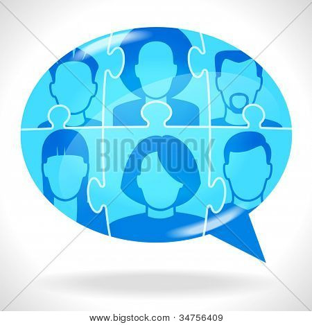 Puzzles with people form a Speech Bubble. Concept communication. File is saved in AI10 EPS