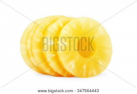 Canned Pineapple Slice On White Background Isolated, On, Yellow, Nobody, Close-up,