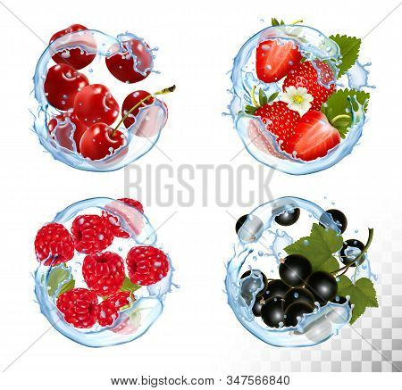 Big Collection Of Fruit And Berries In A Water Splash. Strawberry, Raspberry, Blackberry And Cherry.