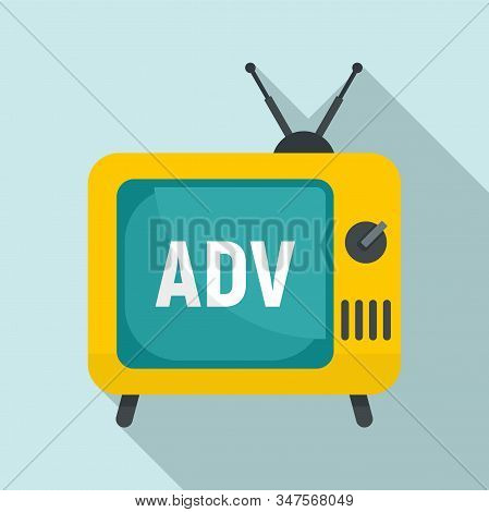 Tv Advertising Icon. Flat Illustration Of Tv Advertising Vector Icon For Web Design
