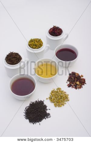 Three Cups Of Tea In Different Colors