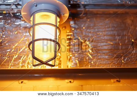 Industrial Explosion Proof Lantern Of Black And Gray Shines With White Light At Coal Mining Exhibiti