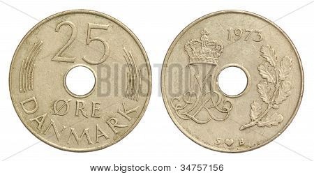 Old Denmark Coin of 25 ORE of 1973 over white background poster