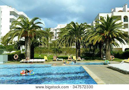 Senhora Da Rocha, Algarve, Portugal - October 7, 2014 : Swimming Pool In Senhora Da Rocha On The Alg