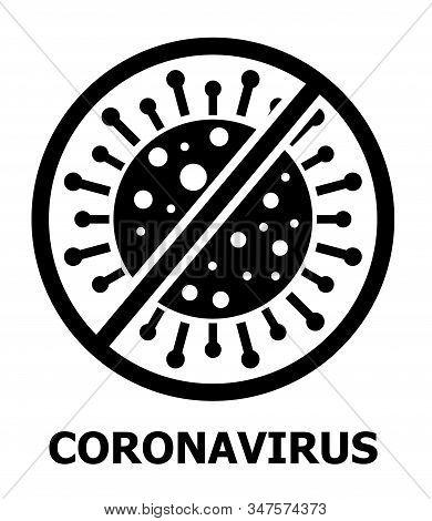 Coronavirus Icon Vector For Web. Stop Cov Caution Sign. Stop Virus Symbol. Pandemic Dangerous, Biolo