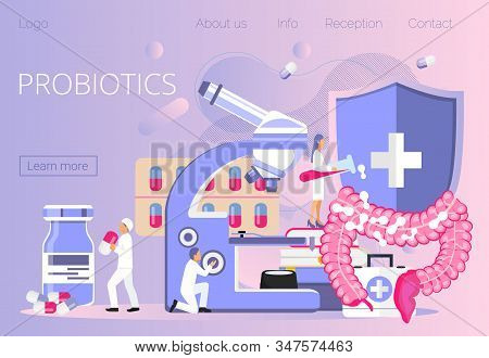 Tiny Doctors Give Stomach Probiotic Bacteria, Lactobacillus. Healthcare Landing Page, Immunity Suppo