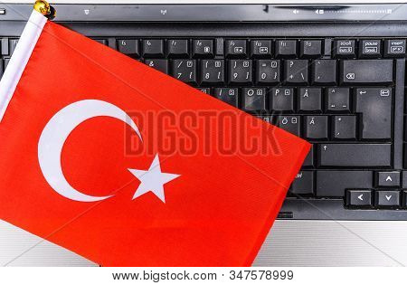 Flag Of Turkey On Computer, Laptop Keyboard