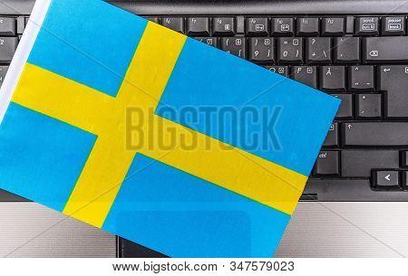 Flag Of Sweden On Computer, Laptop Keyboard
