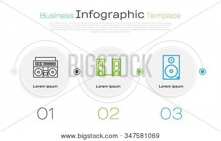 Set Line Home Stereo With Two Speakers, Stereo Speaker And Stereo Speaker. Business Infographic Temp