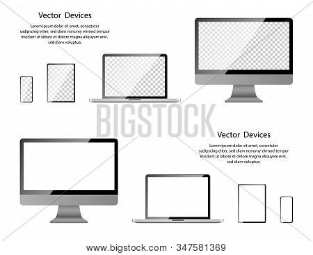 Screen Mockup. Realistic Computer Monitor, Laptop, Tablet And Phone With Transparent And White Scree