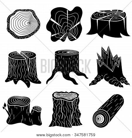 Stumps Icons Set. Simple Set Of Stumps Vector Icons For Web Design On White Background