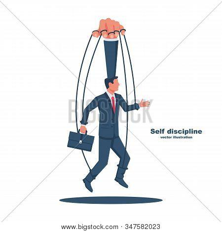 Self Discipline Concept. Vector Illustration Flat Design. Isolated On White Background. Man Has Foun