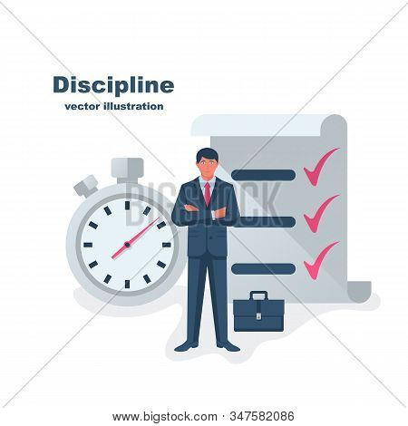 Self Discipline Concept. All Deal And Tasks Are Completed. Vector Illustration Flat Design. Isolated