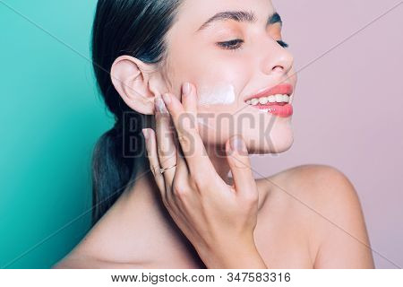 Facial Care For Female. Keep Skin Hydrated Regularly Moisturizing Cream. Fresh Healthy Skin Concept.