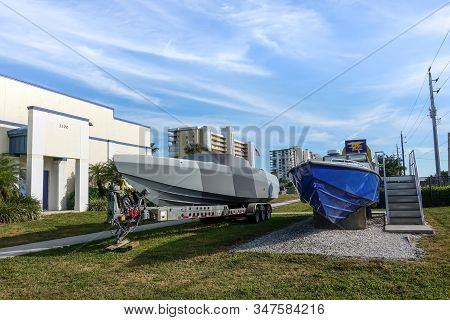 Ft. Pierce,fl/usa-1/27/20: Boats Used By The Navy Seals In The Line Of Duty.
