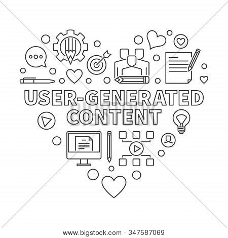 User-generated Content Or Ugc Heart Vector Concept Thin Line Illustration