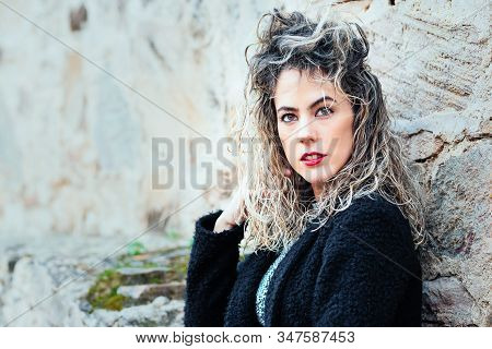 Curly Blonde Woman With Copy Space For Text