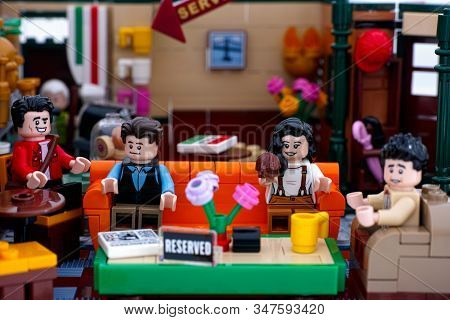 Tambov, Russian Federation - January 03, 2020 Lego Central Perk Cafe Main Seating Area With Lego Min