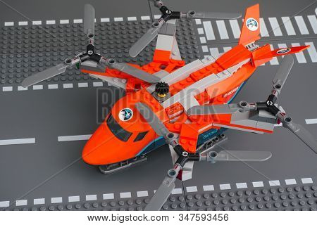 Tambov, Russian Federation - January 20, 2020 Lego Heavy-duty Quadrocopter With 4 Spinning Rotors On