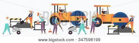 Asphalt Paving Services Vector Concept For Web Banner, Website Page