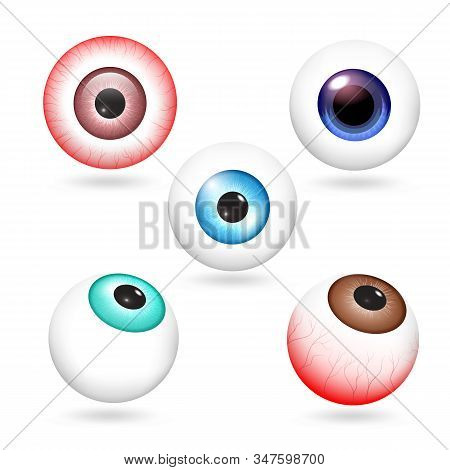 Eyeball Icons Set. Realistic Set Of Eyeball Vector Icons For Web Design Isolated On White Background