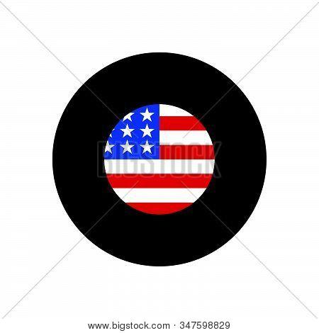 United States Flag Icon Isolated On Black Background. United States Flag Icon In Trendy Design Style