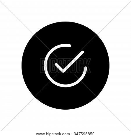 Checked Icon Isolated On Black Background. Checked Icon In Trendy Design Style. Checked Vector Icon