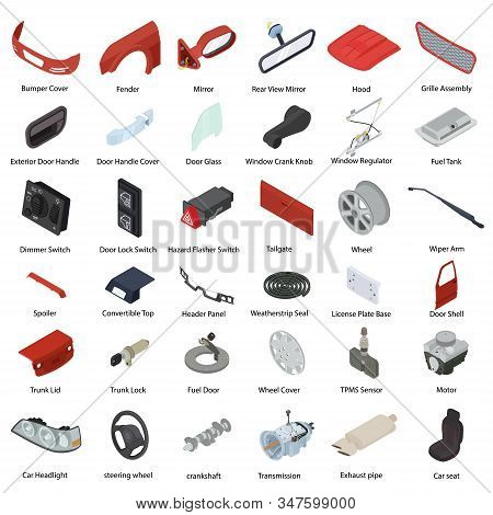 Car Parts Icons Set. Isometric Set Of Car Parts Vector Icons For Web Design Isolated On White Backgr