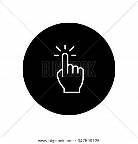 Hand Click Icon Isolated On Black Background. Hand Click Icon In Trendy Design Style. Hand Click Vec